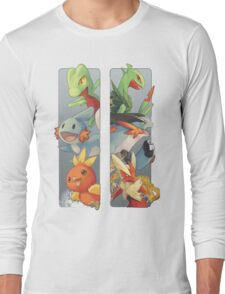 pokemon 3rd gen starters megaevolved cool design Long Sleeve T-Shirt