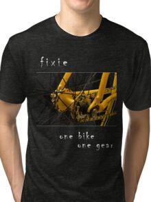 Fixie - one bike, one gear (black) Tri-blend T-Shirt