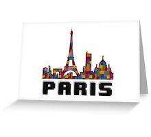 Paris Skyline Made With Lego Like Blocks Greeting Card