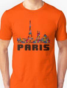 Paris Skyline Made With Lego Like Blocks T-Shirt