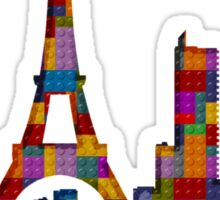 Paris Skyline Made With Lego Like Blocks Sticker