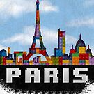 Paris Skyline Made With Lego Like Blocks by T-ShirtsGifts