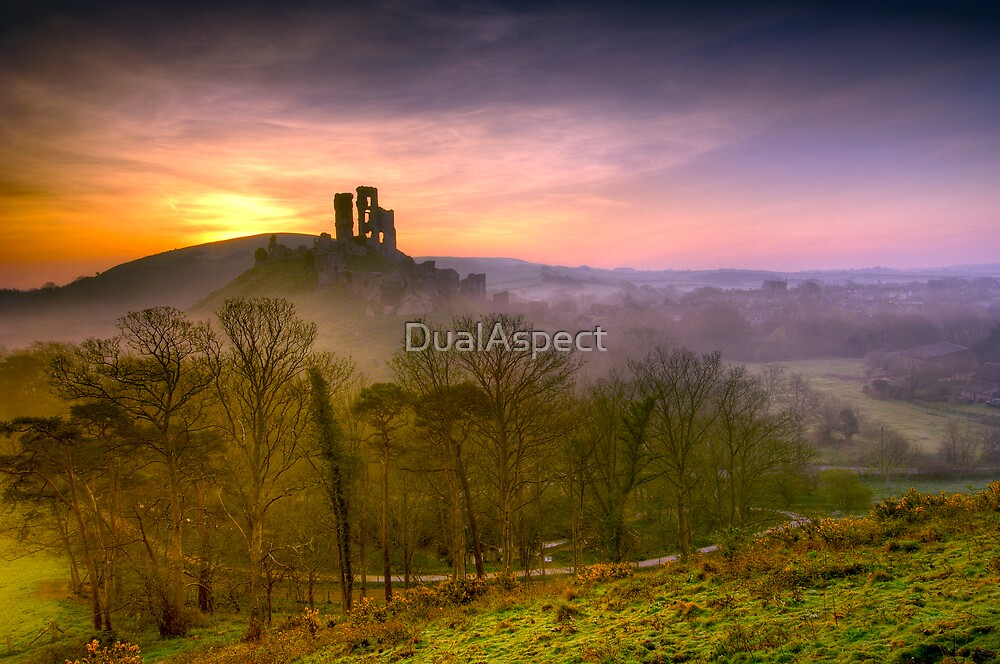 Corfe Castle sunrise by DualAspect