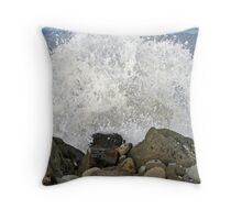 Waves Over The Rocks Throw Pillow