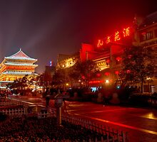The Drum Tower at night in Xi'an China art photo print by ArtNudePhotos