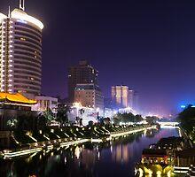 Xi'an nighttime city canal scenery art photo print by ArtNudePhotos