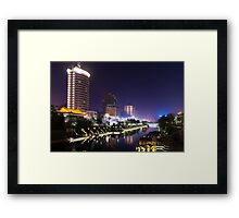 Xi'an nighttime city canal scenery art photo print Framed Print