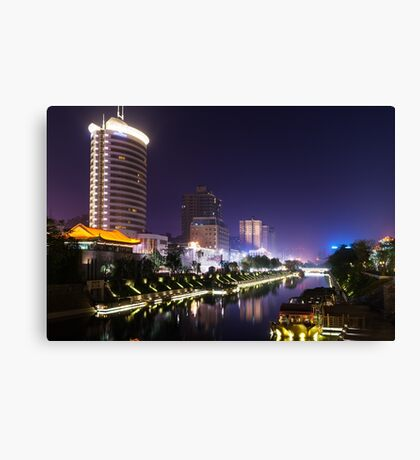 Xi'an nighttime city canal scenery art photo print Canvas Print