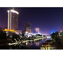 Xi'an nighttime city canal scenery art photo print Photographic Print