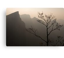 Tree silhouette against mountan landscape art photo print Canvas Print