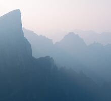 Foggy mountan landscape scenery in Zhangjiajie China art photo print by ArtNudePhotos