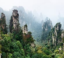 Mountains Zhangjiajie National Forest Park panoramic scenery art photo print by ArtNudePhotos