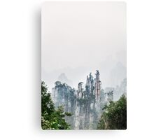 Mountain peaks in fog Zhangjiajie National Forest Park art photo print Canvas Print