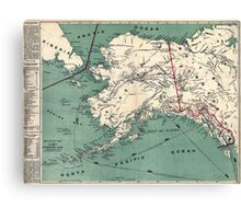 ALASKA GOLD RUSH SURVIVAL MAP/GUIDE  1897 Canvas Print