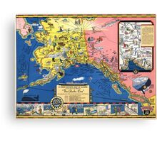 TRAVEL ALASKA FUN MAP 1934 Canvas Print