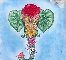 Flower elephant by Annedraw