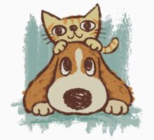 Sketch of kitten and dog by Toru Sanogawa