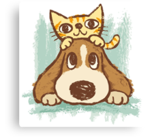 Sketch of kitten and dog Canvas Print