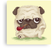 Pug which held the pipe in its mouth Canvas Print