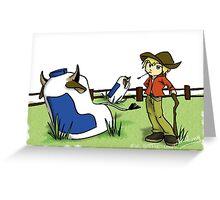 Milk Bottle Cows. Greeting Card