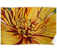 Sparkling, Intricate Golds and Yellows - a Floral Ceramic Tile Mosaic Poster