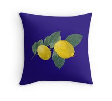 Two lemons on a branch with leaves. Throw Pillow
