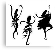Three abstract dancers, black and white. Canvas Print