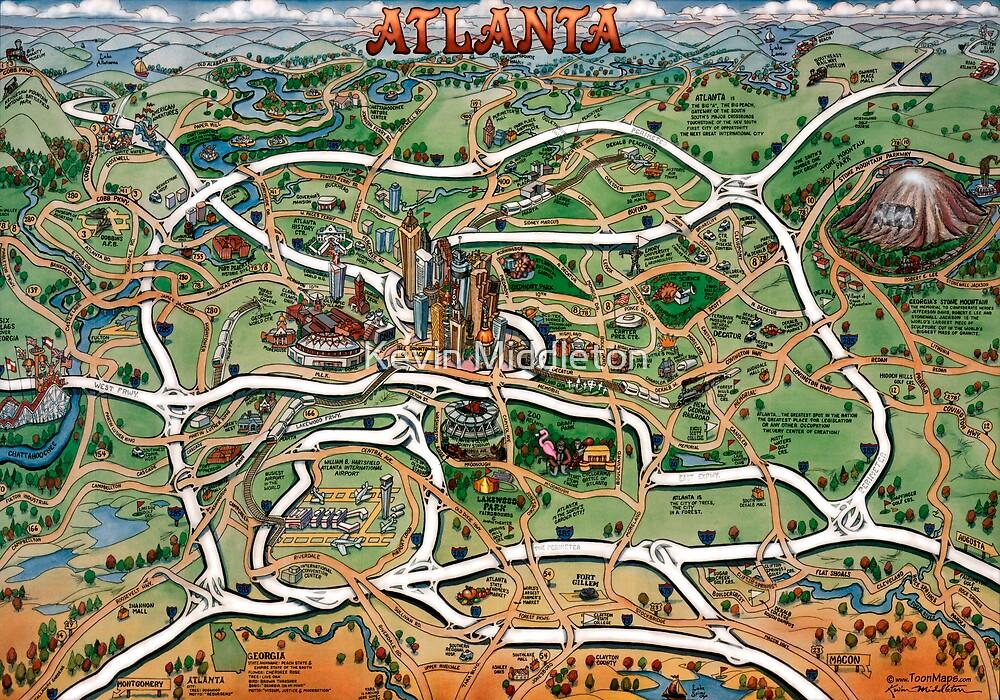 Atlanta Georgia Cartoon Map by Kevin Middleton