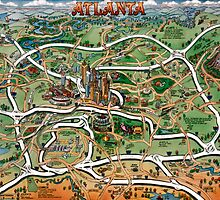 Atlanta Georgia Cartoon Map by Kevin Middleton