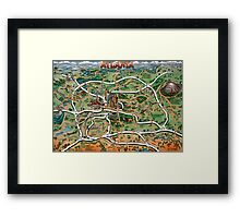 Atlanta Georgia Cartoon Map Framed Print