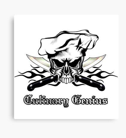 Chef Skull 12: Culinary Genius 3 black flames Canvas Print