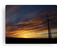 Sunset Behind the Turbines Canvas Print