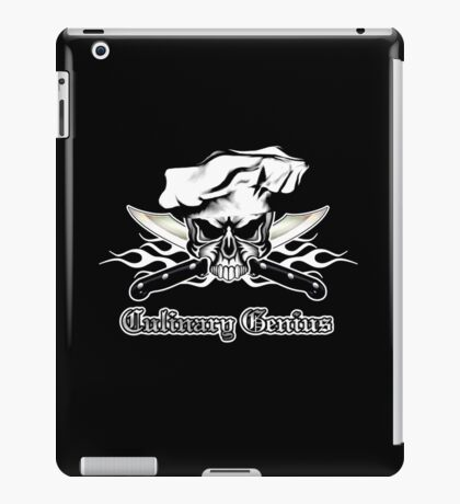 Chef Skull 12: Culinary Genius 3 white flames iPad Case/Skin