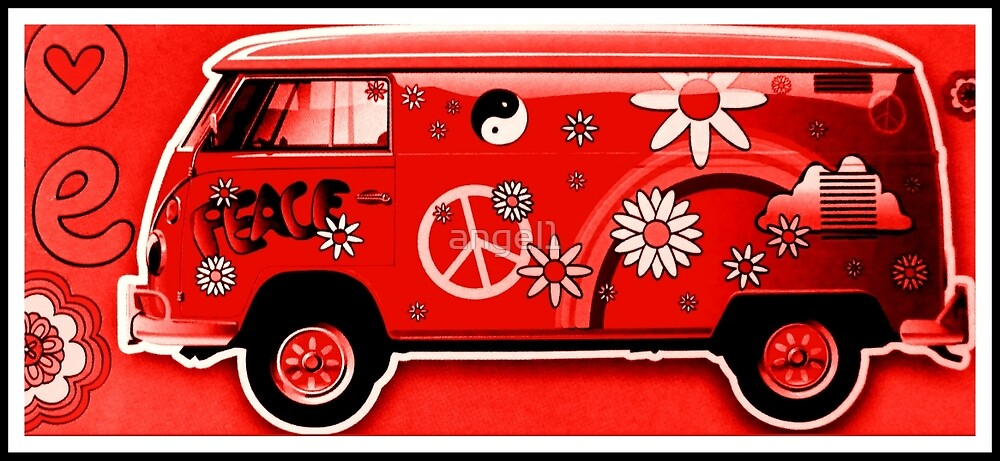 Flower Power Camper red by ©The Creative  Minds