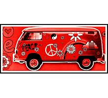 Flower Power Camper red Photographic Print