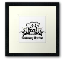 Chef Skull 13: Culinary Genius 3 black flames Framed Print
