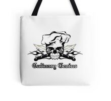 Chef Skull 13: Culinary Genius 3 black flames Tote Bag