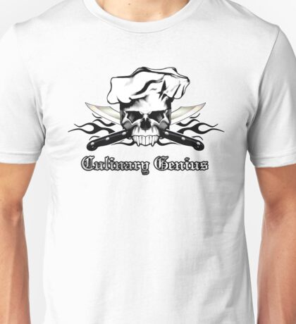 Chef Skull 13: Culinary Genius 3 black flames Unisex T-Shirt