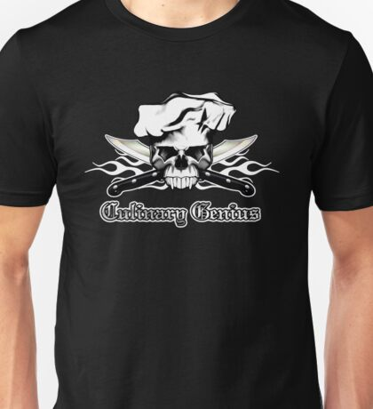 Chef Skull 13: Culinary Genius 3 white flames Unisex T-Shirt