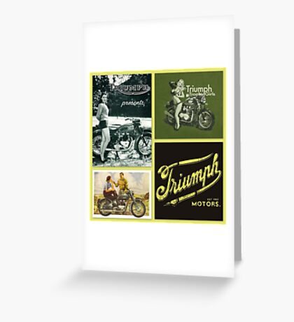 Retro motorcycle collage Greeting Card