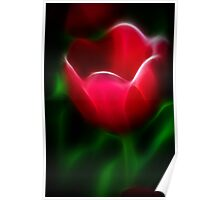 Neon Tulip on Green Poster