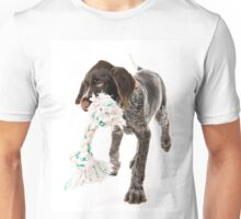 Playing German wire-haired pointer puppy Unisex T-Shirt