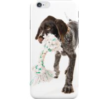 Playing German wire-haired pointer puppy iPhone Case/Skin