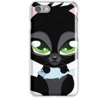 Cute cartoon black kitten with blue fish iPhone Case/Skin