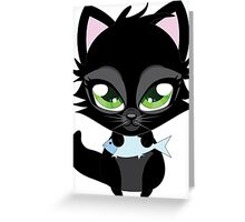Cute cartoon black kitten with blue fish Greeting Card