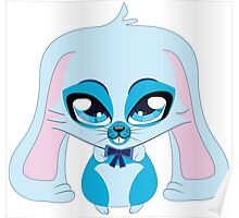 A cute blue bunny with a bow Poster