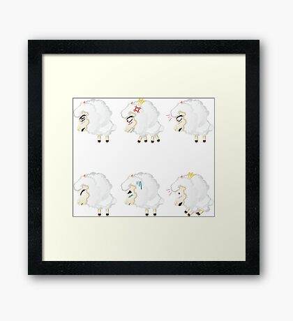 Chibi Sheeps Framed Print