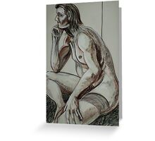 Pondering Male Nude (Drawing)- Greeting Card