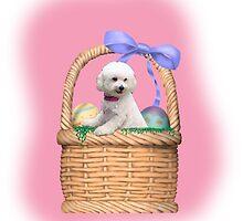 A tisket a tasket a bichon in a basket by IowaArtist