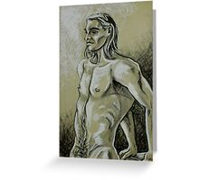 Torso of the Male Nude (Drawing)- Greeting Card